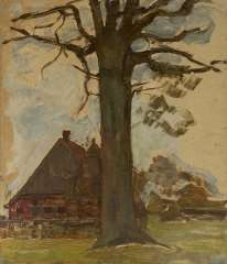 Mondriaan P.C. - Boom met boerderij, olieverf op board op paneel 75,5 x 64 cm, te dateren ca. 1906-1907