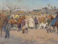 Wolter H.J. - Horseraces, Galopatoio, Borghese Park, oil on canvas 33.7 x 44.6 cm , signed l.r. and painted 1938 - 1940