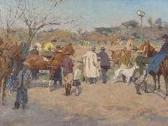 Wolter H.J. - Paardenrennen Galopatoio, Borghese Park, Rome, olie op doek 33,7 x 44,6 cm , gesigneerd r.o. en te dateren 1938-1940