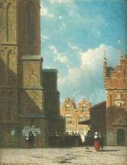 Weissenbruch J. - De Grote Markt in Haarlem met de St. Bavokerk en de vleeshal, olieverf op paneel 19 x 14,9 cm , gesigneerd l.o.