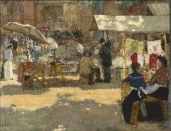 Arntzenius P.F.N.J. - Markt, Den Haag, aquarel op papier 36,2 x 46,9 cm , gesigneerd l.o. and te dateren ca. 1905
