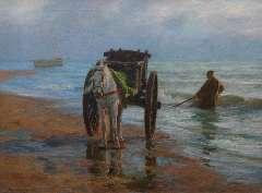 Farasijn E. - Schelpenvisser aan de Noordzeekust, olie op doek 88,2 x 120,7 cm , gesigneerd l.o.