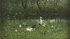 Maris W. - Eenden aan de slootkant, olie op doek 23,5 x 41,3 cm, gesigneerd l.o.