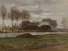 Mondriaan P.C. - Studie voor ´Zomernacht´, olie op doek 32,3 x 44,1 cm , gesigneerd r.o. en te dateren 1906-1907