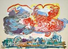 Appel C.K. - Wolken boven huizen, acryl op papier 56,5 x 76 cm , gesigneerd l.o. en gedateerd '84