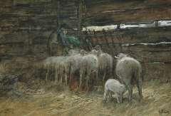 Mauve A. - De schaapskooi, aquarel en gouache op papier 33 x 47 cm , gesigneerd r.o.