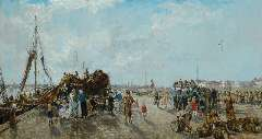 Mastenbroek J.H. van - A busy dag at Scheveningen harbour, oil on canvas 70 x 130 cm , signed l.l. and dated 1937
