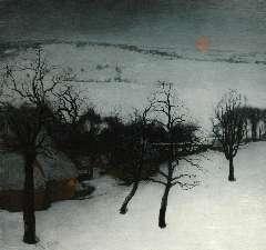 Saedeleer V. de - Winterlandschap met schelven, olie op doek 126 x 131 cm, gesigneerd l.o. en gedateerd 1931