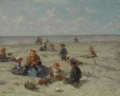 Akkeringa J.E.H. - Playing on the beach, oil on canvas 26.7 x 33 cm , signed l.l. and on the reverse and dated 1937 on the reverse