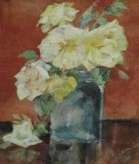 Kamerlingh Onnes M. - Glazen vaas met rozen, potlood en aquarel op papier 25,3 x 21,1 cm , gesigneerd r.o. en te dateren ca. 1920