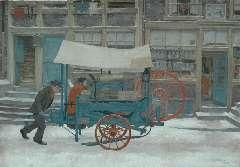 Pieck A.F. - Amsterdamse scharenslijper, olie op doek 25,4 x 35,3 cm , gesigneerd r.o. en gedateerd 1928