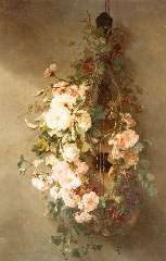 Roosenboom M.C.J.W.H. - Klimrozen op een Spaanse gitaar, olie op doek 103 x 68,3 cm , gesigneerd l.o.