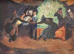 Sluiter J.W. - Kermis Volendam: in de zweefmolen, gouache op papier 26,8 x 33 cm , gesigneerd r.o. en gedateerd '22