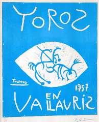Picasso P. (RUIZ Y) - Toros en Vallauris 1957, linosnede op papier 69,2 x 55,4 cm, gesigneerd r.o. (in waskrijt)