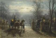 Eerelman O. - Naar het feest, aquarel op papier 36,9 x 54,4 cm, gesigneerd l.o.