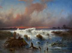 Hilverdink J. - De dijkdoorbraak in de Grebbedijk op 5 maart 1855, olieverf op paneel 37,1 x 50,1 cm, gesigneerd r.o. en gedateerd 1855