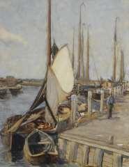 Arntzenius P.F.N.J. - Afgemeerde vissersboten in de haven van Elburg, aquarel op papier 56,9 x 43,5 cm, gesigneerd r.o.