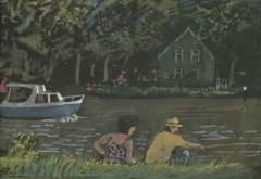Kamerlingh Onnes H.H. - Zomerse dag aan het water, aquarel op papier 22,7 x 31,2 cm , gesigneerd r.o. met monogram en gedateerd '75