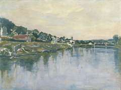 Mondriaan P.C. - De oever van de Seine, olie op doek 54,2 x 73,1 cm , gesigneerd l.o. en te dateren 1929