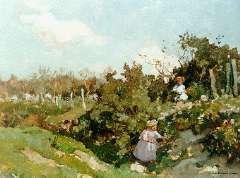 Akkeringa J.E.H. - Kinderen plukken bloemen, olie op paneel 32,3 x 40 cm , gesigneerd r.o.
