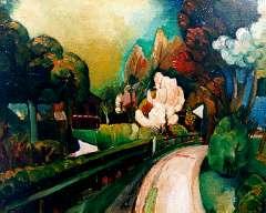 Wiegman M.J.M. - Landweg in het voorjaar, olieverf op doek 59,9 x 73,4 cm, gesigneerd m.o.