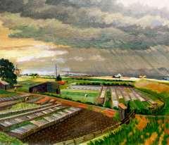 Melgers H.J. - Polderlandschap bij Amsterdam in regen, olie op doek 60,2 x 70,3 cm , gesigneerd l.o. + verso