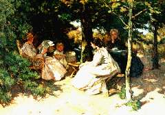 Akkeringa J.E.H. - Thee drinken in de tuin, olieverf op doek 31,5 x 42,2 cm, gesigneerd l.o.