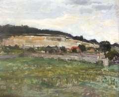 Mondriaan P.C. - Landschap bij Montmorency, olie op doek 46,3 x 55,2 cm , gesigneerd l.o. en verso en verso gedateerd 8 aug. '30