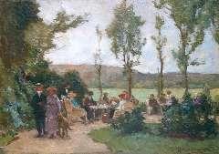 Akkeringa J.E.H. - Theetuin, olie op paneel 17,4 x 24,6 cm , gesigneerd r.o.