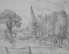 Kruyder H.J. - Limburgs landschap met kerktoren, potlood op papier 26 x 32,8 cm , gesigneerd l.o. monogram en te dateren 1923-1927