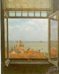 Tholen W.B. - Een gezicht op de Zuiderzee vanuit Hotel Van Diepen, Volendam, olie op doek 70 x 58,5 cm, gesigneerd r.o.