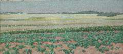 Breman A.J. - Summer landscape with potatofields in the Gooi region, oil on canvas 18.7 x 40.5 cm , signed l.r. and dated 'L 1 7 1903'