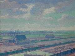 Smorenberg D. - Boerderijen bij Loosdrecht, olie op doek 54,3 x 69,3 cm, gesigneerd r.o. en gedateerd '14
