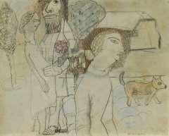 Kruyder H.J. - De beschermer van de ongewenst zwangere, potlood, pen, inkt en pastel op papier 17,2 x 21,3 cm , gesigneerd r.o.