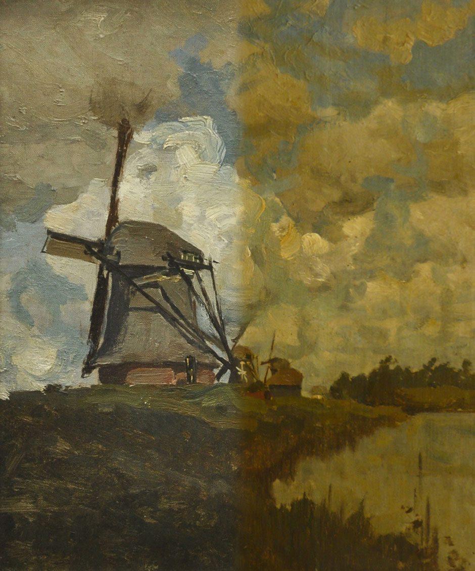 W.B. Tholen (1860-1931) 'De molens bij Giethoorn', olieverf op doek op paneel 33 x 27 cm, gesign.