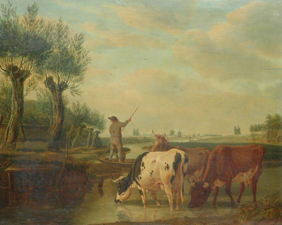 M.A. Kuytenbrouwer (1777-1850) 'Veerman en herderin in Hollands rivierlandschap', olieverf op paneel 39 x 47 cm, gesign. - voor restauratie