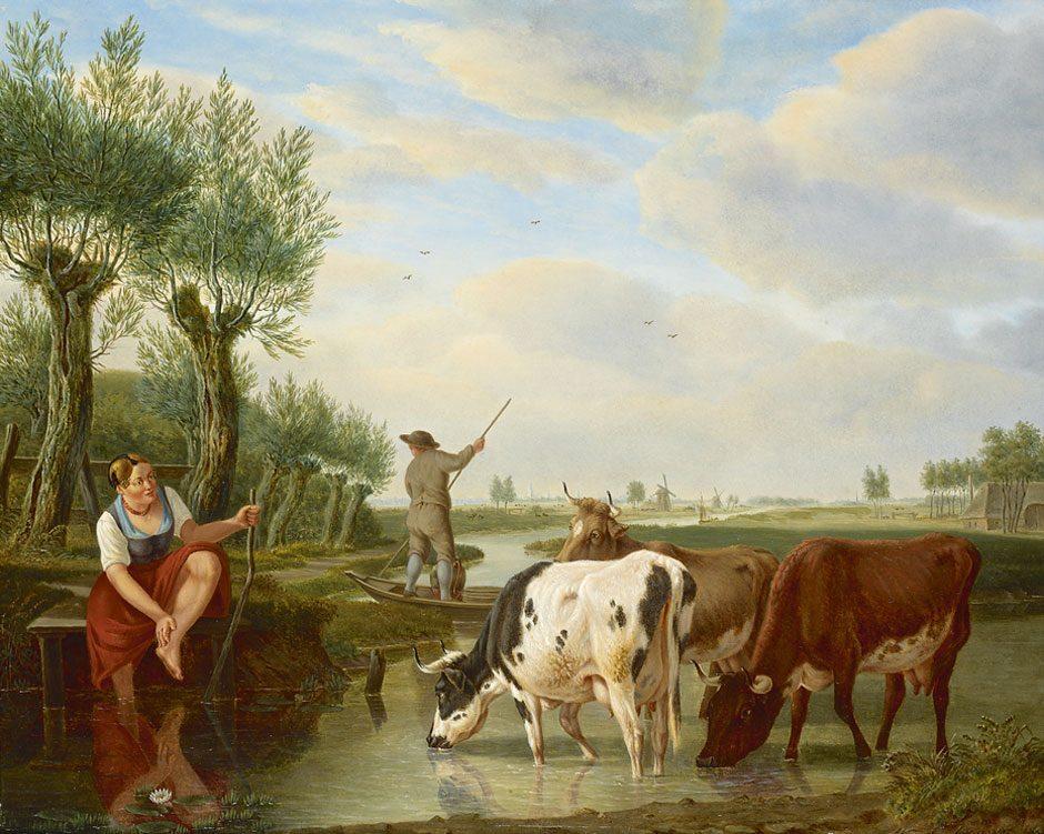 M.A. Kuytenbrouwer (1777-1850) 'Veerman en herderin in Hollands rivierlandschap', olieverf op paneel 39 x 47 cm, gesign. - na restauratie
