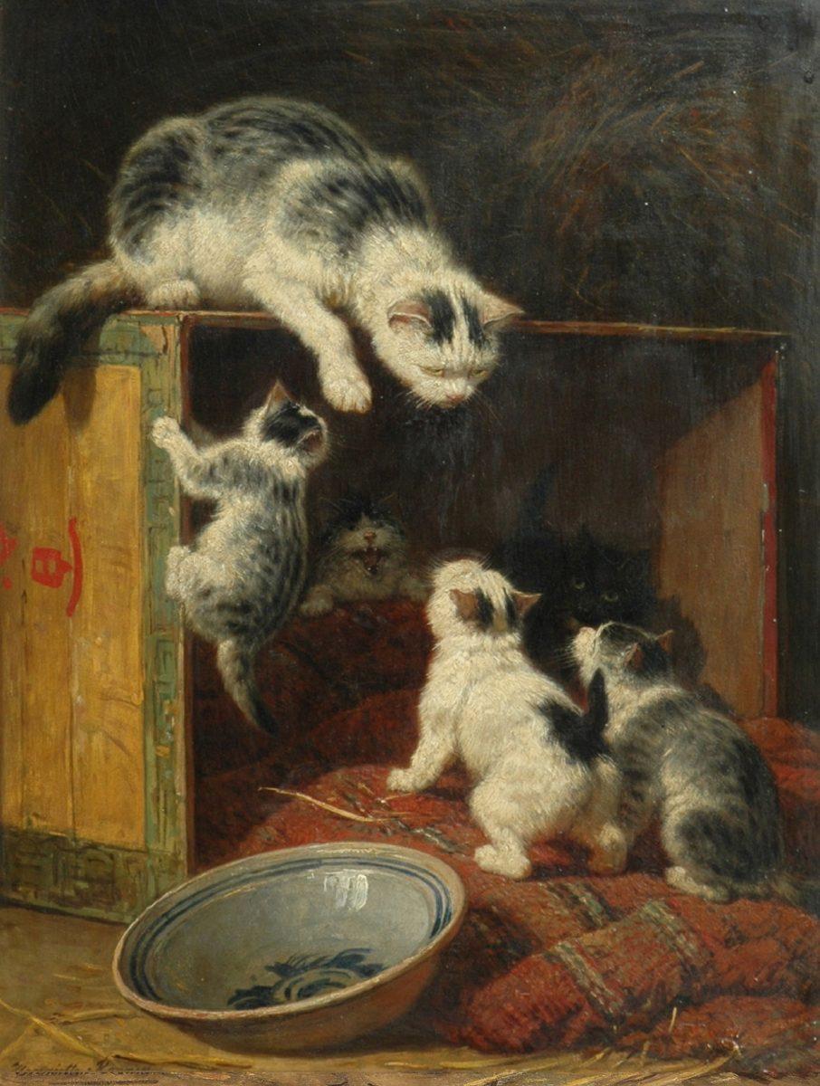 H. Ronner-Knip (1821-1909) 'Een lekker hapje', olieverf op paneel 48 x 38 cm, gesign. - voor restauratie