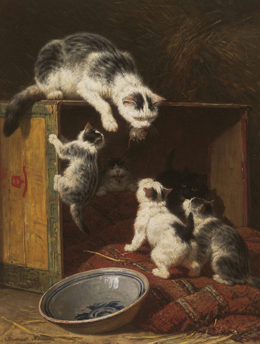 H. Ronner-Knip (1821-1909) 'Een lekker hapje', olieverf op paneel 48 x 38 cm, gesign. - na restauratie
