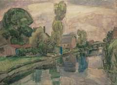 Gestel L. - Gezicht op Koedijk, aquarel op papier 72 x 98 cm , gesigneerd r.o. en gedateerd 'Koedijk 1919'