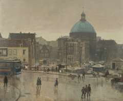 Vreedenburgh C. - Vreedenburgh C. The Prins Hendrikkade, Amsterdam, with the Stromarkt and the Ronde Lutherse Kerk, oil on canvas 59.3 x 72.8 cm , signed l.r. and dated 1931