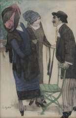 Gestel L. - Unterhaltung im Park, Kohle und Pastell auf Papier 50,1 x 33,4 cm, gesigneerd l.o.und te dateren ca. 1910