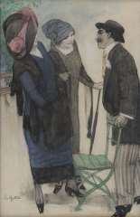 Gestel L. - Praatje in het park, Houtskool en pastel op papier 50,1 x 33,4 cm , gesigneerd l.o. en te dateren ca. 1910