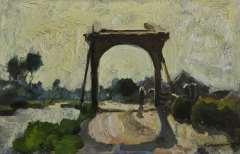 Vreedenburgh C. - Ophaalbruggetje te Noorden, olieverf op paneel 16 x 24,7 cm, gesigneerd r.o. en te dateren ca. 1902-1906