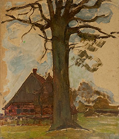 Mondriaan P.C. - Farm with tree, oil on board laid down on panel 75.5 x 64 cm, painted circa 1906-1907