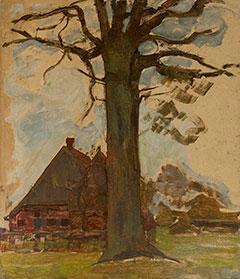 Mondriaan P.C. - Boom met boerderij, olieverf op board op paneel 75,5 x 64 cm , te dateren ca. 1906-1907