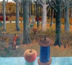 Berserik H. - Uitzicht uit atelier; verliefd paar in het bos, tempera op doek 100 x 110 cm , gesigneerd l.o. en gedateerd 1964-'65