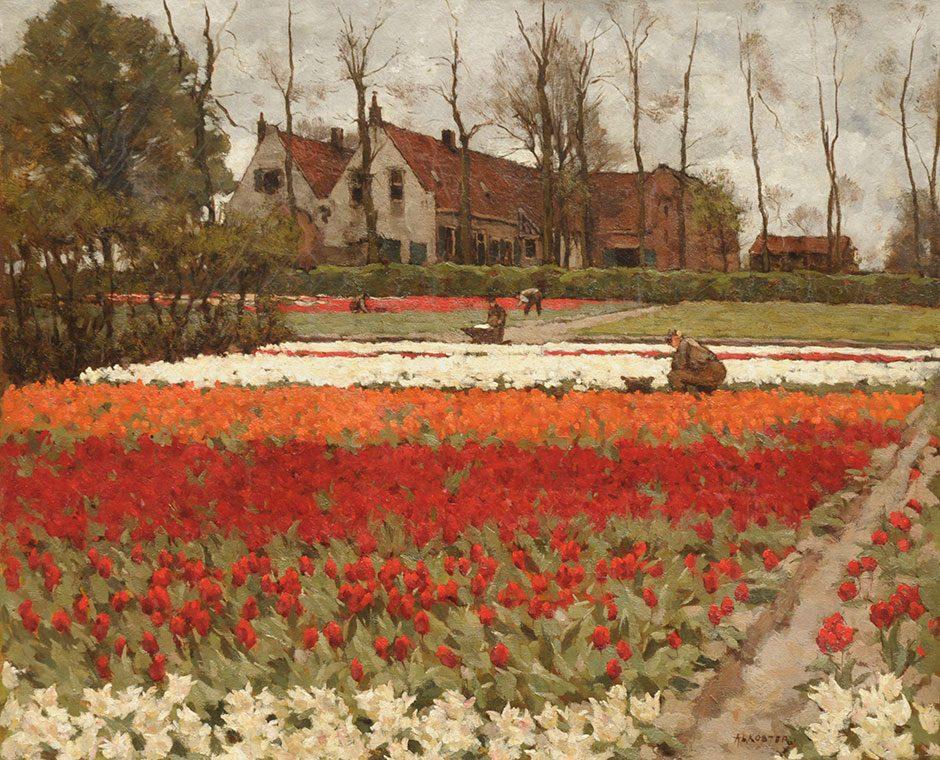 A.L. Koster (1859-1937) De tulpenkwekerij 'Leeuwenstein' in Hillegom, coll. koningin Emma, Paleis Soestdijk