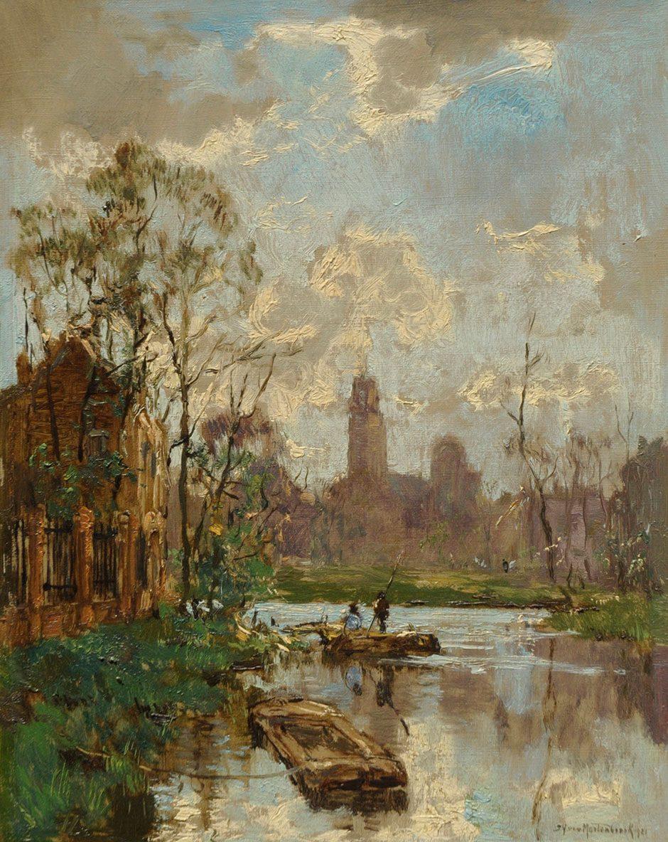 J.H. van Mastenbroek (1875-1945) Gezicht op een gracht, herkomst: Paleis Noordeinde