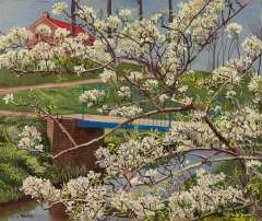 Bieling H.F. - A flowering tree, oil on canvas 38 x 45.4 cm , signed l.l.
